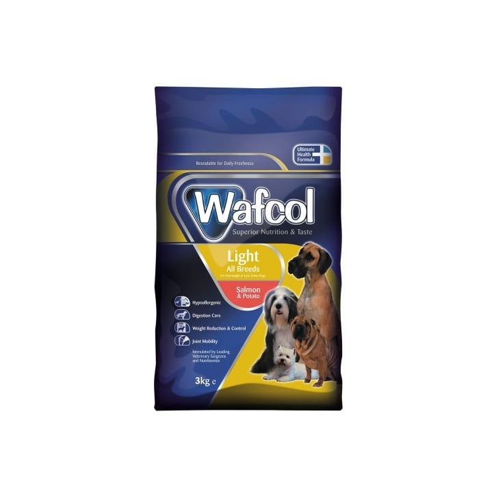 Wafcol Hypoallergenic Complete Adult Light Salmon & Potato Dog Food Diet 3kg