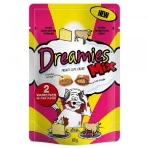 Dreamies Mix Beef and Cheese Cat Treats 60gm