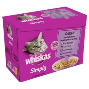 Whiskas Simply Grilled Fish Pouches pack 12x85gm