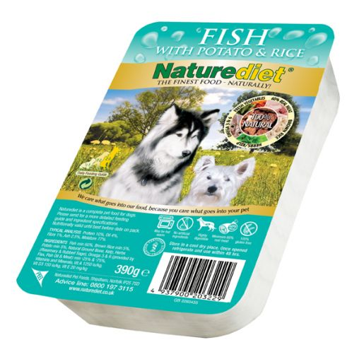 Naturediet fresh fish with brown rice potato 390gm feedem for Raw fish for dogs