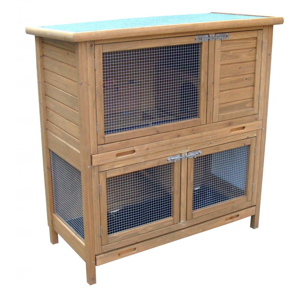 Rabbit shack 115cm flat pack small guinea pig hutch with for Free guinea pig hutch