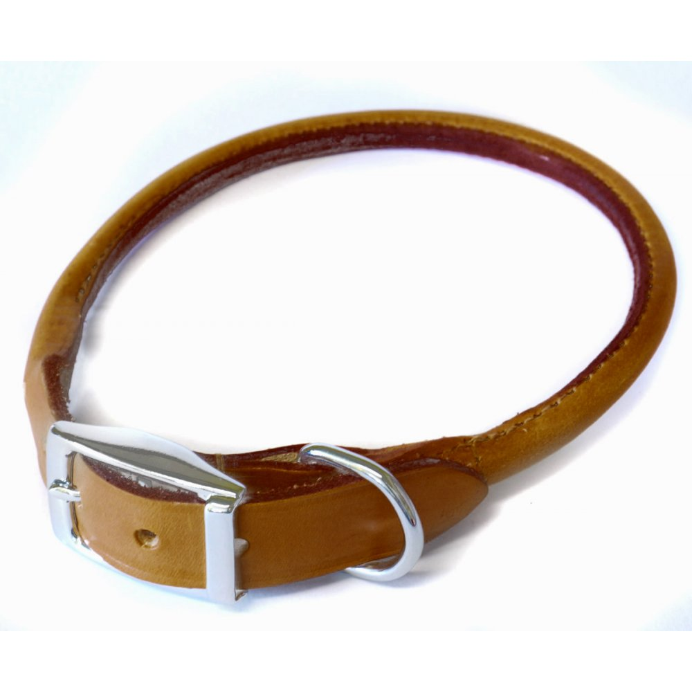 Ancol Rolled Leather Dog Collar Chestnut Feedem