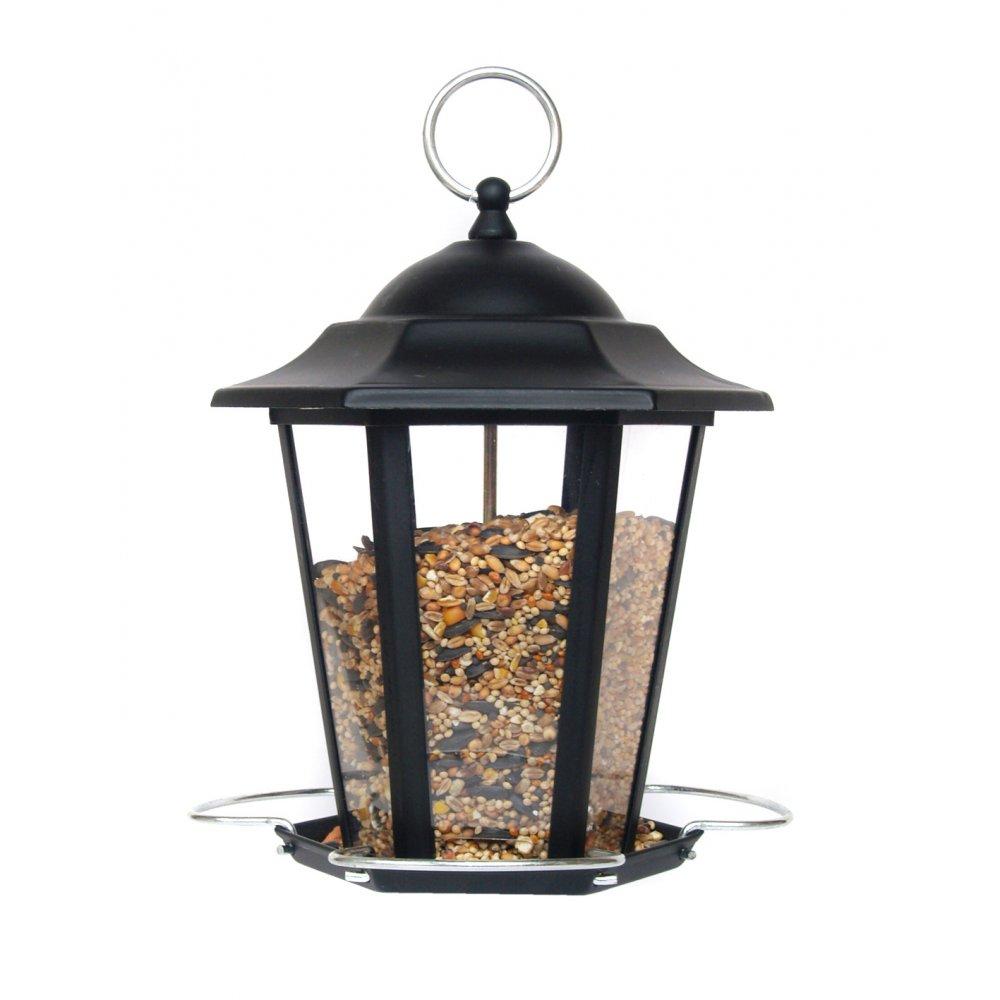 Supa premium metal lantern wild bird seed feeder black for Bird feed tin