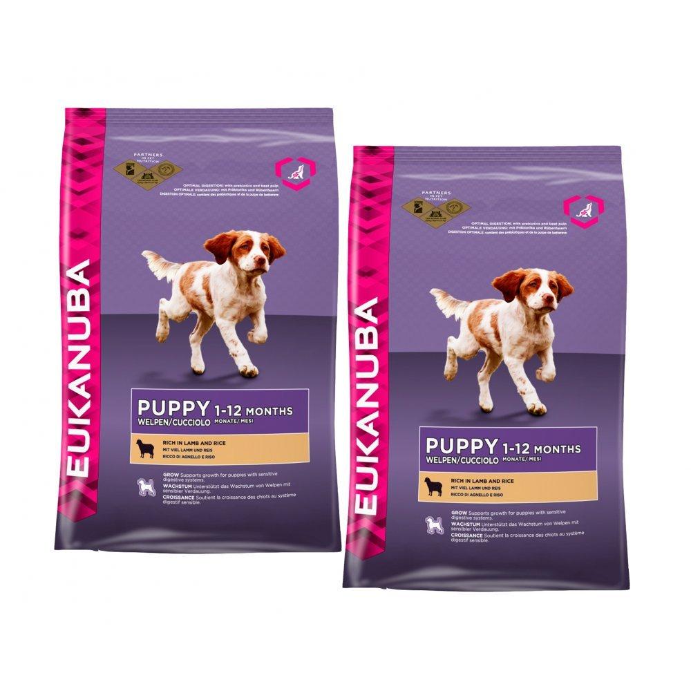 Eukanuba Small & Medium Breed Puppy Dog Food With Lamb 2 x 12kg   Feedem