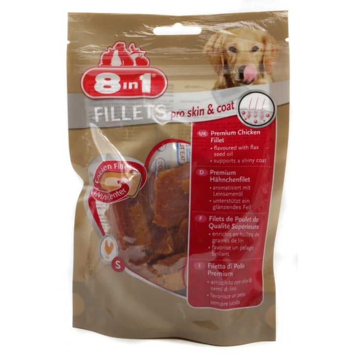 8 in 1 Chicken Fillets Pro Skin & Coat Dog Treat Small