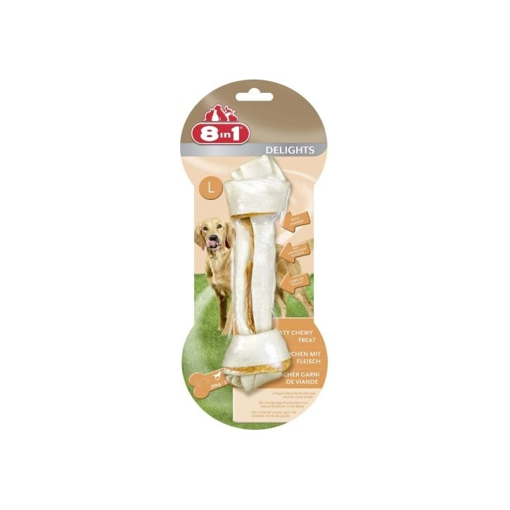 8 in 1 Delights Rawhide Dog Chew Bone Large.