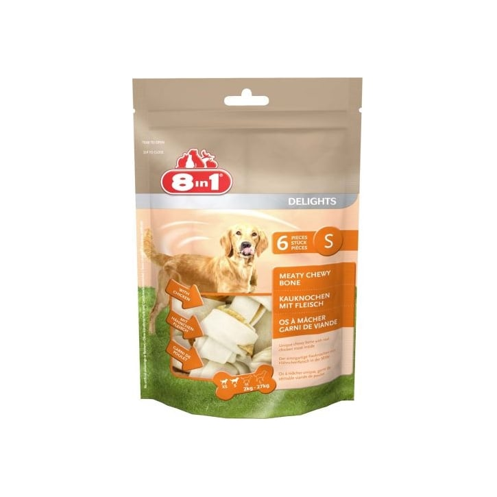 8 in 1 Delights Rawhide Dog Chew Value Bag - Small 6 Pieces