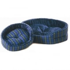 Cosipet Tartan Superbed Oval Dog Bed Blue 18""