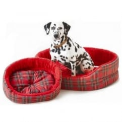 Cosipet Tartan Superbed Oval Dog Bed Red 18""