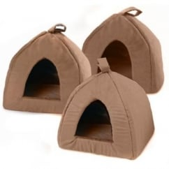 Igloo Faux Suede Cat/Dog Bed Chocolate 16