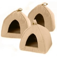 Igloo Faux Suede Cat/Dog Bed Tan 16