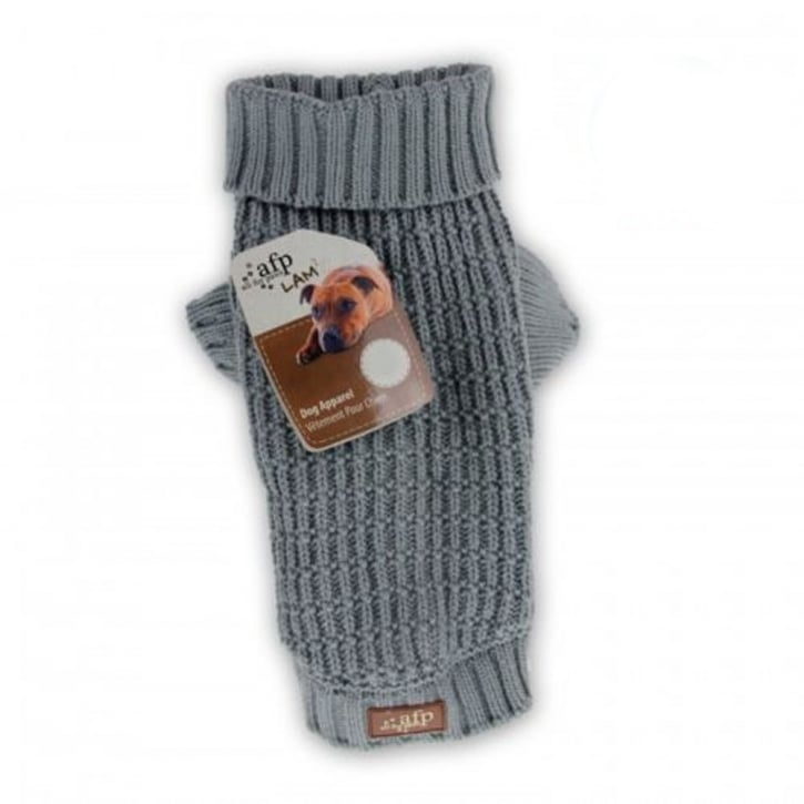 All For Paws Lambswool Fishermans Weave Dog Sweater Grey Large 14