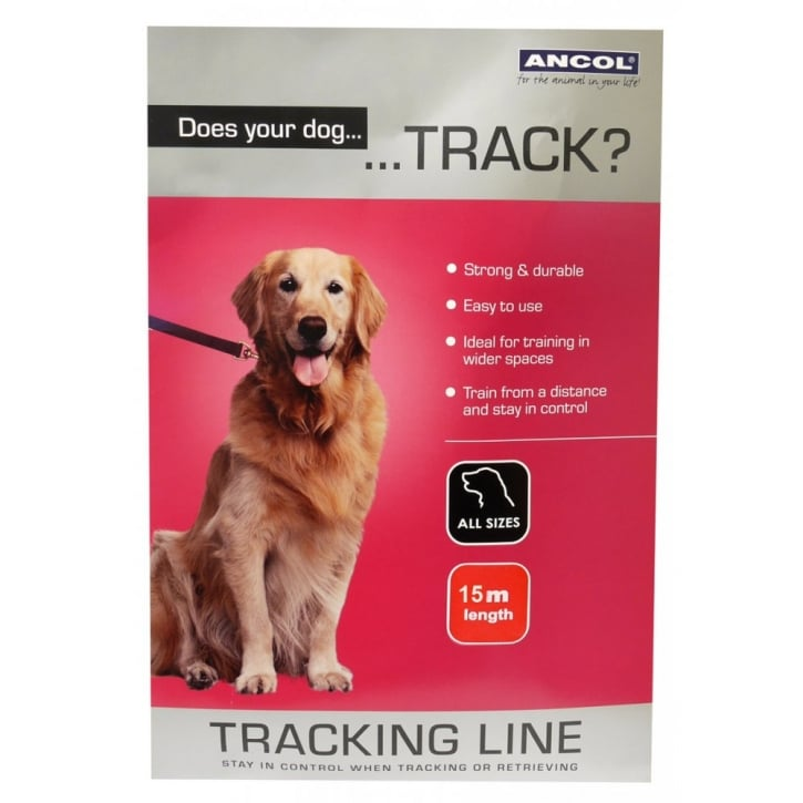 Ancol Black Nylon Tracking Line For Dogs - 15m = 50ft