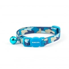 Camouflage Safety Cat Collar With Bell Blue
