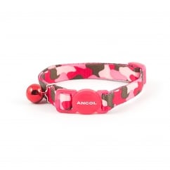 Camouflage Safety Cat Collar With Bell Pink