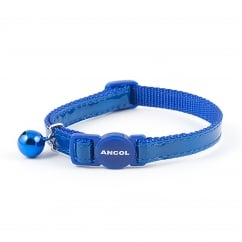 Gloss Reflective Safety Cat Collar With Bell Blue