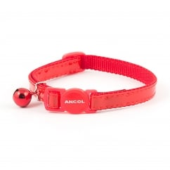 Gloss Reflective Safety Cat Collar With Bell Red