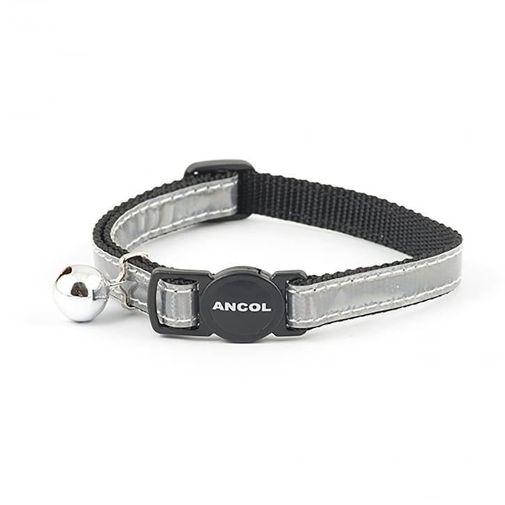 Ancol Gloss Reflective Safety Cat Collar With Bell Silver