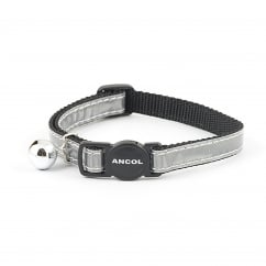 Gloss Reflective Safety Cat Collar With Bell Silver
