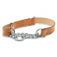 Leather & Chain Check Collar 60cm - Tan