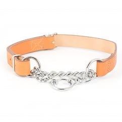 Leather & Chain Check Collar Tan 60cm