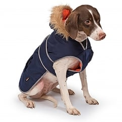 Muddy Paws Parka Dog Coat Navy Small