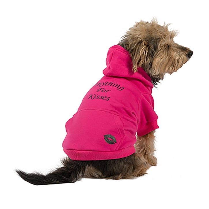 Ancol Muddy Paws Pink Kisses Dog Hoodie Large