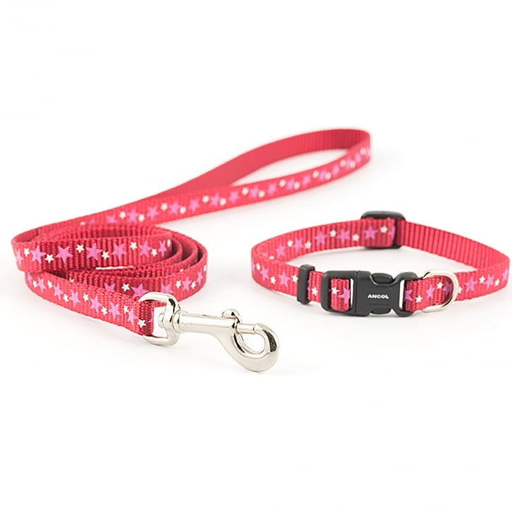 Ancol Small Bite Puppy/Small Dog Star Collar and Lead Set - Red 30cm