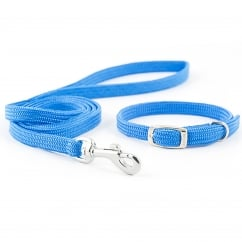 Small Bite Softweave Collar and Lead Set Blue