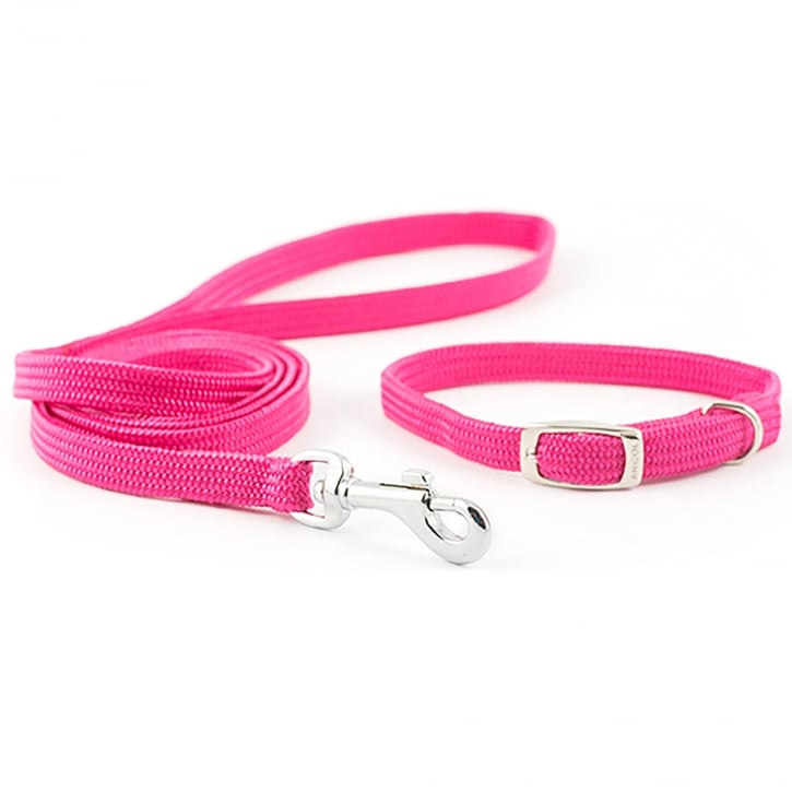 Ancol Small Bite Softweave Collar and Lead Set Raspberry