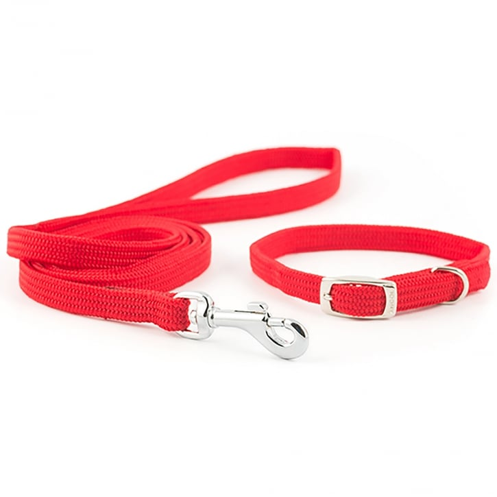 Ancol Small Bite Softweave Collar and Lead Set Red