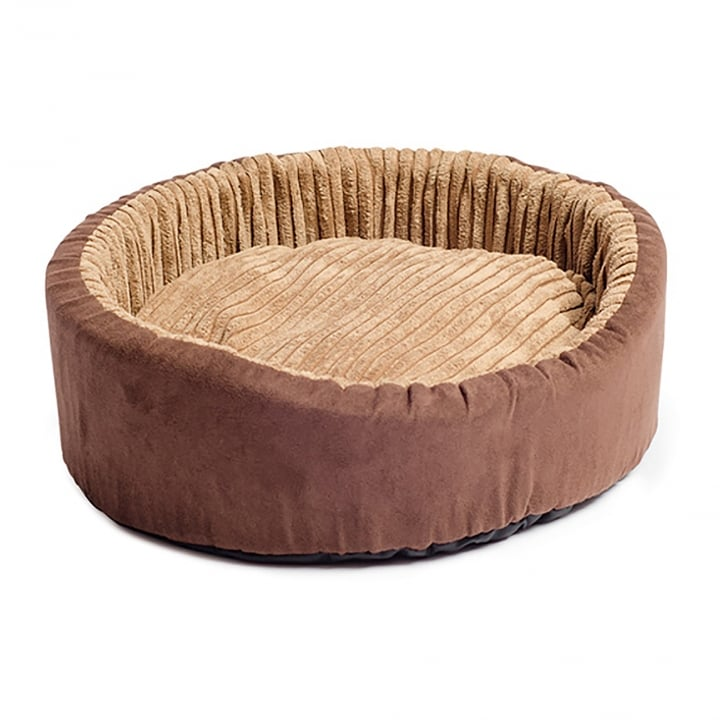 Ancol Timberwolf Faux Suede Oval Dog Bed 50cm