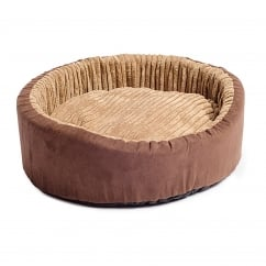 Timberwolf Faux Suede Oval Dog Bed 70cm