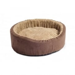 Timberwolf Faux Suede Oval Dog Bed 75cm