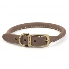Timberwolf Leather Round Dog Collar