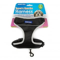 Travel & Exercise Dog Harness Size XLarge 68cm-116cm - Black