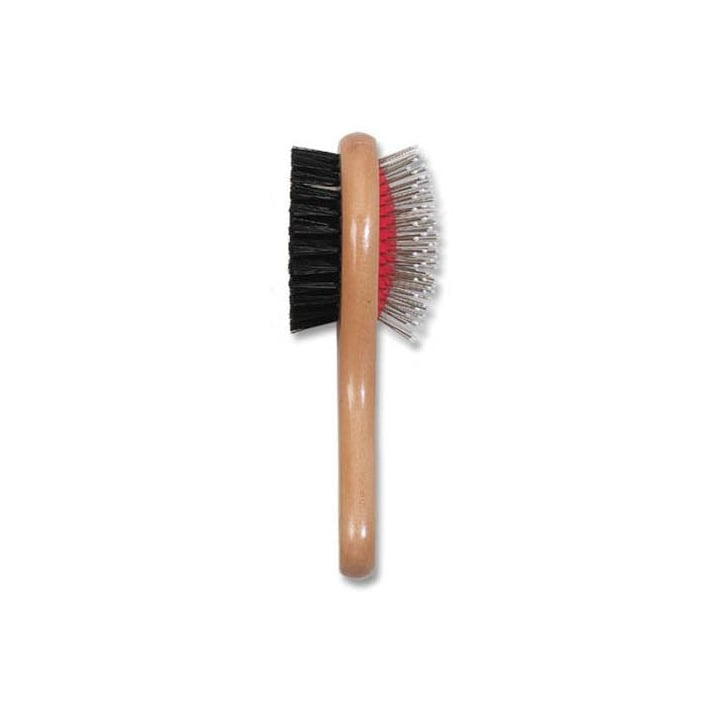 Ancol Wooden Handle Double Sided Brush For Cats And Dogs