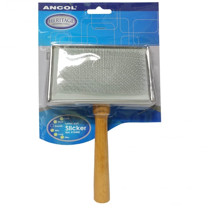 Ancol Wooden Handle Slicker Brush For Dogs - Large