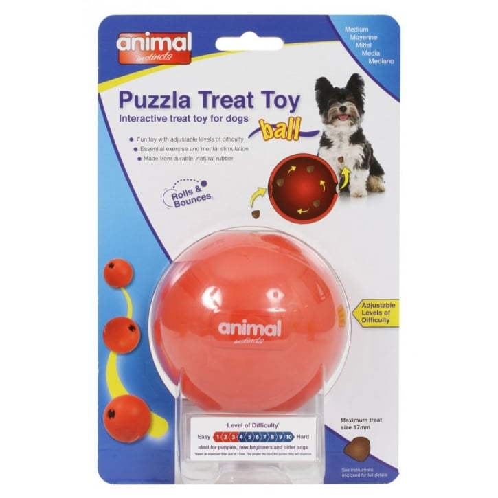 Animal Instincts Puzzla Ball Interactive Treat Toy for Dogs Medium