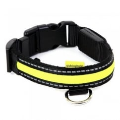 Animate Walking Mate Soft Nylon LED Flashing Green Dog Collar - Large