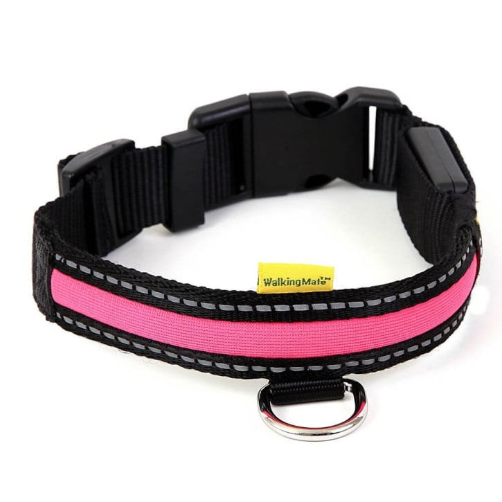 Animate Walking Mate Soft Nylon LED Flashing Pink Dog Collar - Large