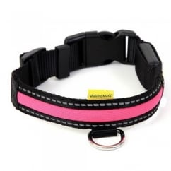Animate Walking Mate Soft Nylon LED Flashing Pink Dog Collar - Medium