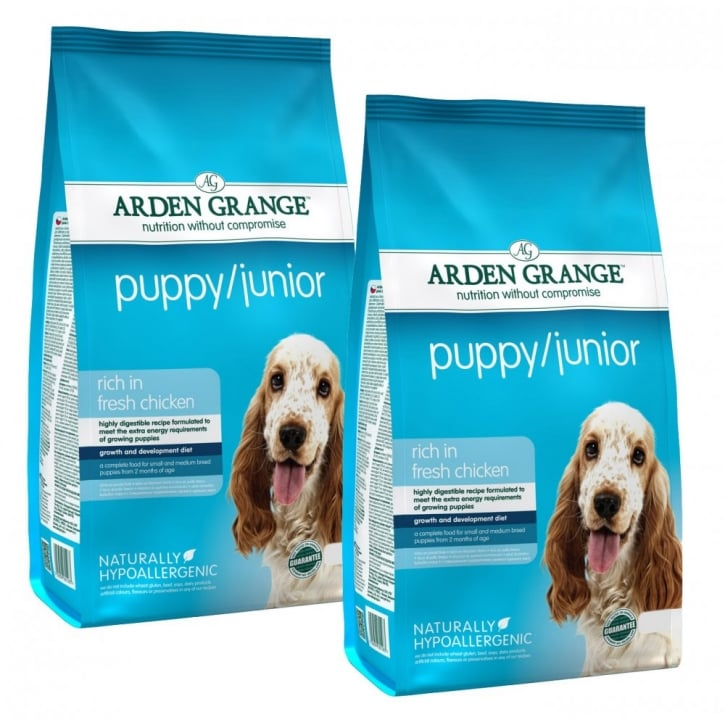 Arden Grange Puppy/Junior Complete Dog Food With Fresh Chicken & Rice 2 x 12kg Twin Offer