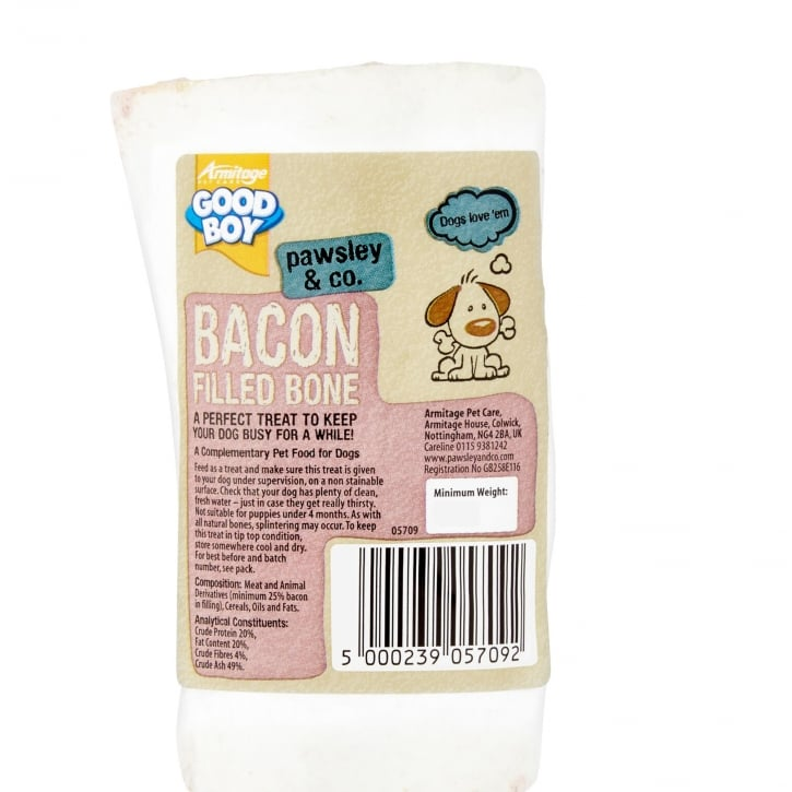 Armitage Goodboy Pawsley & Co Bacon Filled Bone Dog Treat 150g