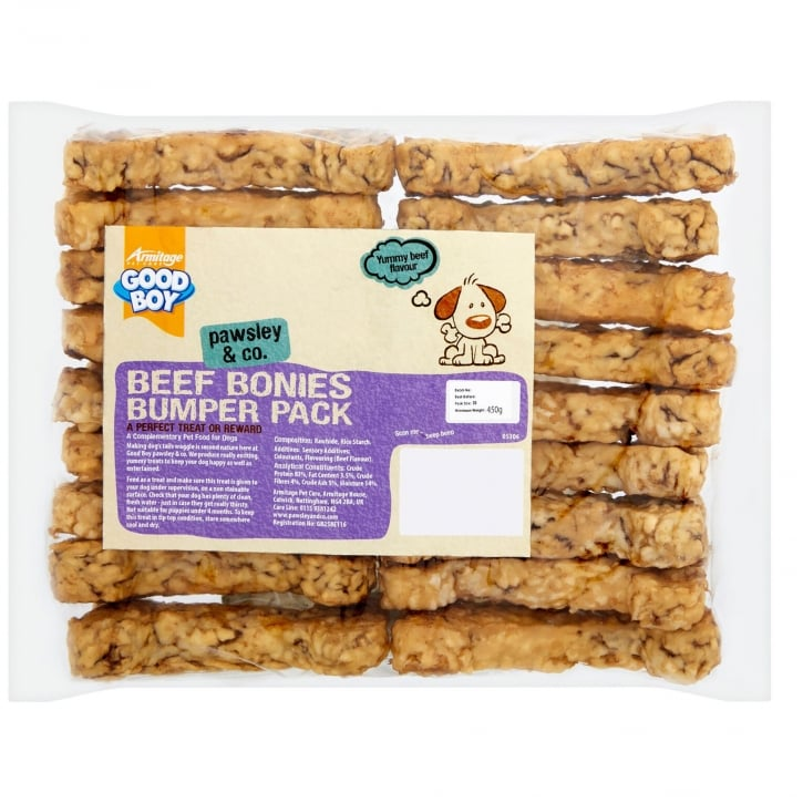 Armitage Goodboy Pawsley & Co Beef Bonies Chews Dog Treats 450g