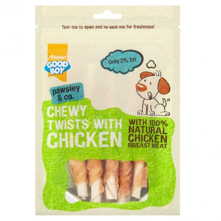 Armitage Goodboy Pawsley & Co Chewy Twists with Chicken Dog Treats 90g