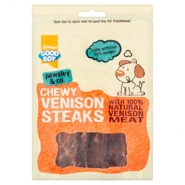 Armitage Goodboy Pawsley & Co Chewy Venison Steaks Dog Treats 80g