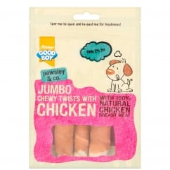 Goodboy Pawsley & Co Jumbo Chewy Twists With Chicken Dog Treats 100g