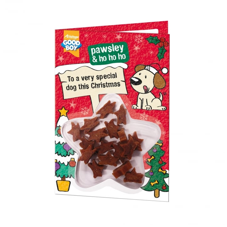 goodboy pawsley ho christmas card with meaty chicken dog treats