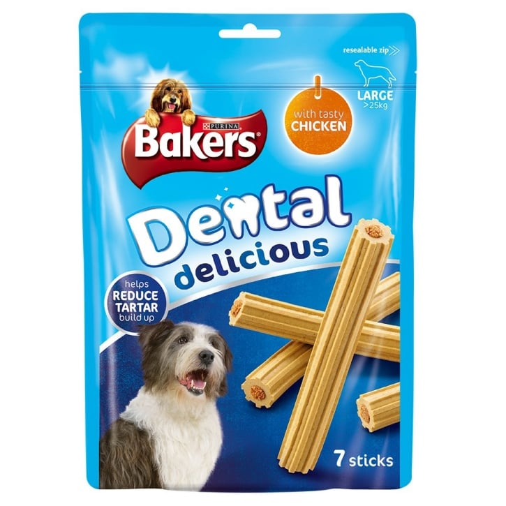 Bakers Dental Delicious Large Dog Treat Chicken 7 sticks